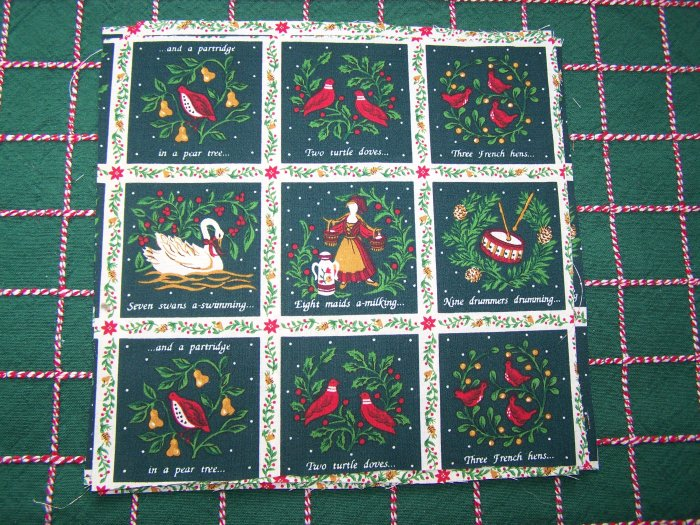 22 Pieces 1990's Marcus Brothers Cotton Fabric 12 Days of Christmas Squares