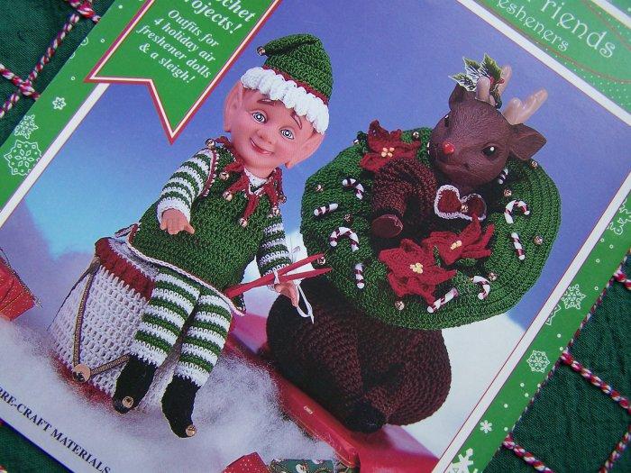 Fibre Craft Crochet Patterns Book Air Freshener Dolls Santa, Mrs Clause Elf Rudolph Reindeer FCM473