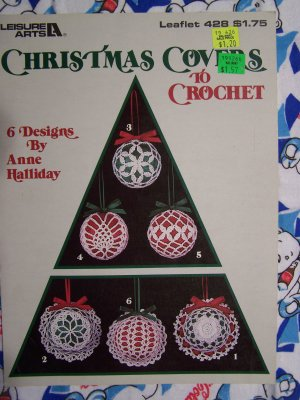 Free USA S&H 80's Christmas Crochet Ornament Covers Patterns Leisure Arts 428