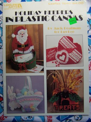 FREE USA S&H Holiday Plastic Canvas Patterns Keepers Santa Heart Box Easter Basket Pumpkin Box 1246