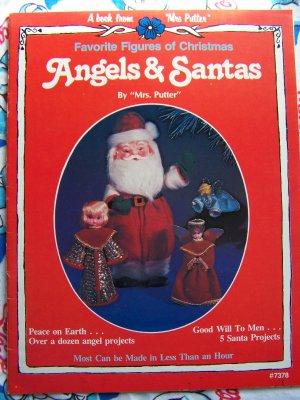 Free USA Shipping Vintage 80's Plaid Christmas Pattern Book 12 Angels 5 Santas 7378