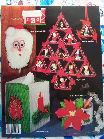 free sh us christmas plastic canvas patterns book ornaments garland bells hurricane lamp more - Plastic Canvas Christmas Ornaments
