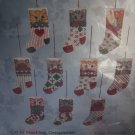 Vintage Counted Cross Stitch Craft Kit 10 Cat In Stocking Ornaments Candamar Designs