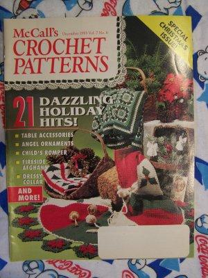 McCall's Crochet Christmas Patterns Magazine 1993 Poinsettia Skirt Snowflake Victorian Ornaments