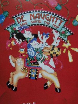 New Christmas Daisy Kingdom No Sew Fabric Applique Be Naughty 6368 Elf Reindeer