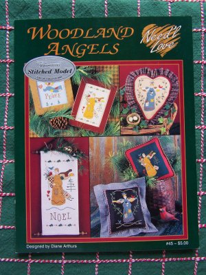 3 Primitive Country Woodland Angels Cross Stitch Embroidery Patterns Graphs Charts