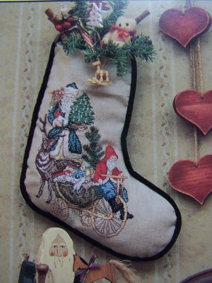 Vintage Donna Gallagher Cross Stitch Patterns Father Christmas III Antique Santas Stocking