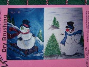 S&H Free USA 2 Vintage Dry Brushing Shirt Painting Patterns Christmas Snowman