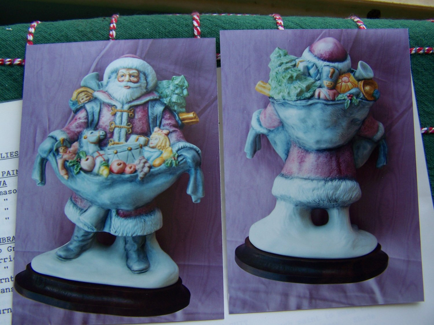 3 Porcelain Figurines Christmas Painting Instructions Santa with Kittens Toys Mr Mrs Santa Mistletoe
