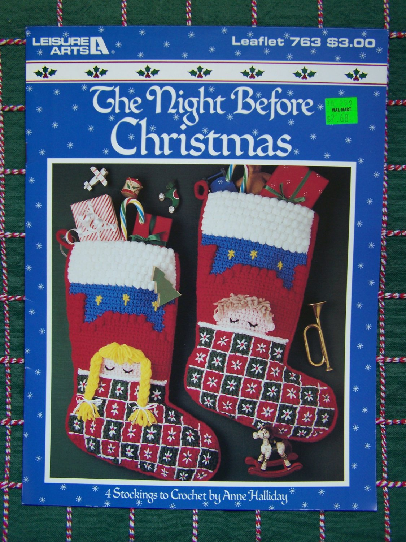 4 Vintage Christmas Stockings  Crochet Patterns Boy Girl Santa Snowman