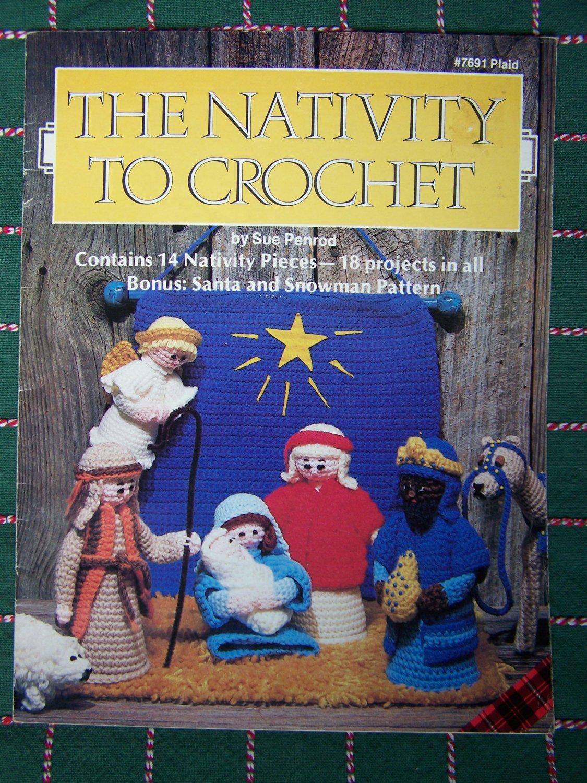 USA Free S&H Vintage Crochet Patterns Christmas Nativity 14 Piece Set  Plaid 7691