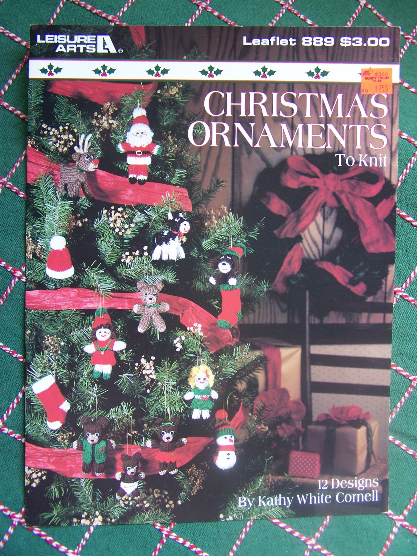 Vintage Christmas Ornaments Knitting Patterns Goldilocks 3 Bears Rudolph Santa Cow