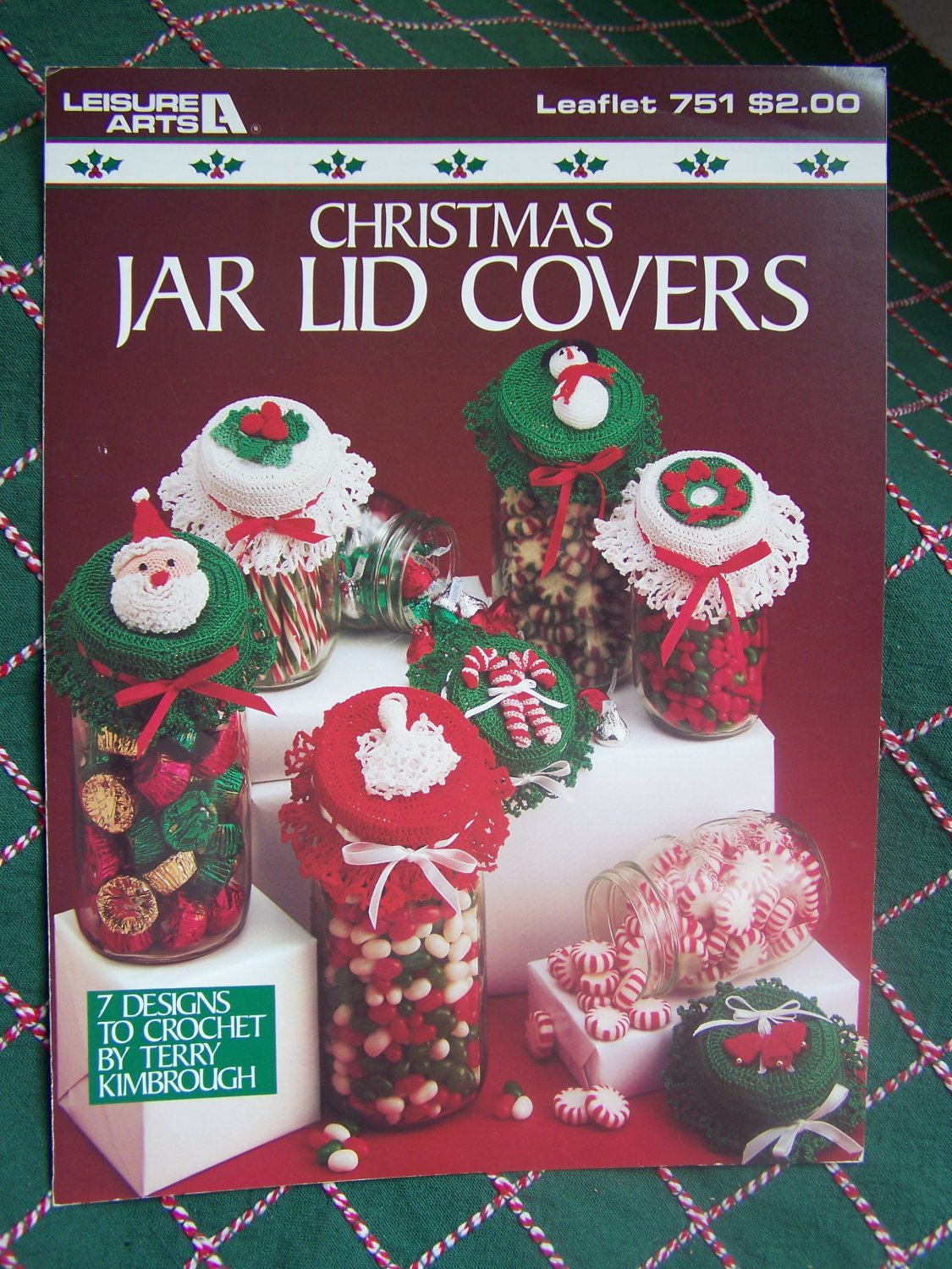 """USA Free S&H Vintage Christmas Crochet Patterns Jar Lid Covers 3 or 3.5"""" 751"""