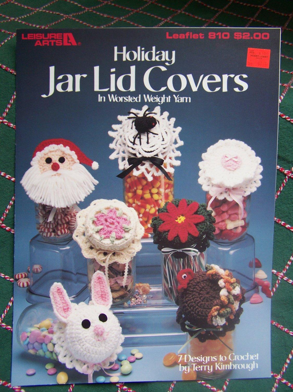 S&H Free USA 7 Vintage Holiday Jar Lid Covers Turkey Santa Spider Poinsettia Rabbit 810