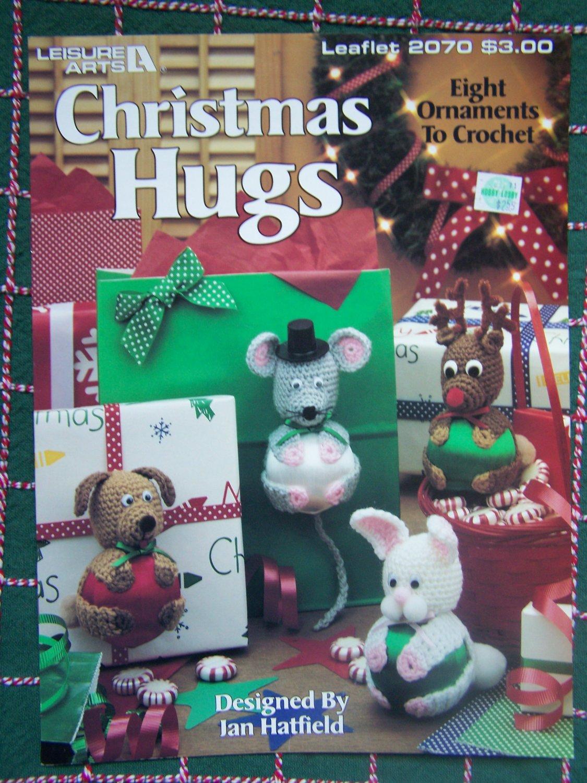 8 New Crochet Patterns Christmas Hugs Ornaments Stuffed Animal Satin Ball Huggers  2070