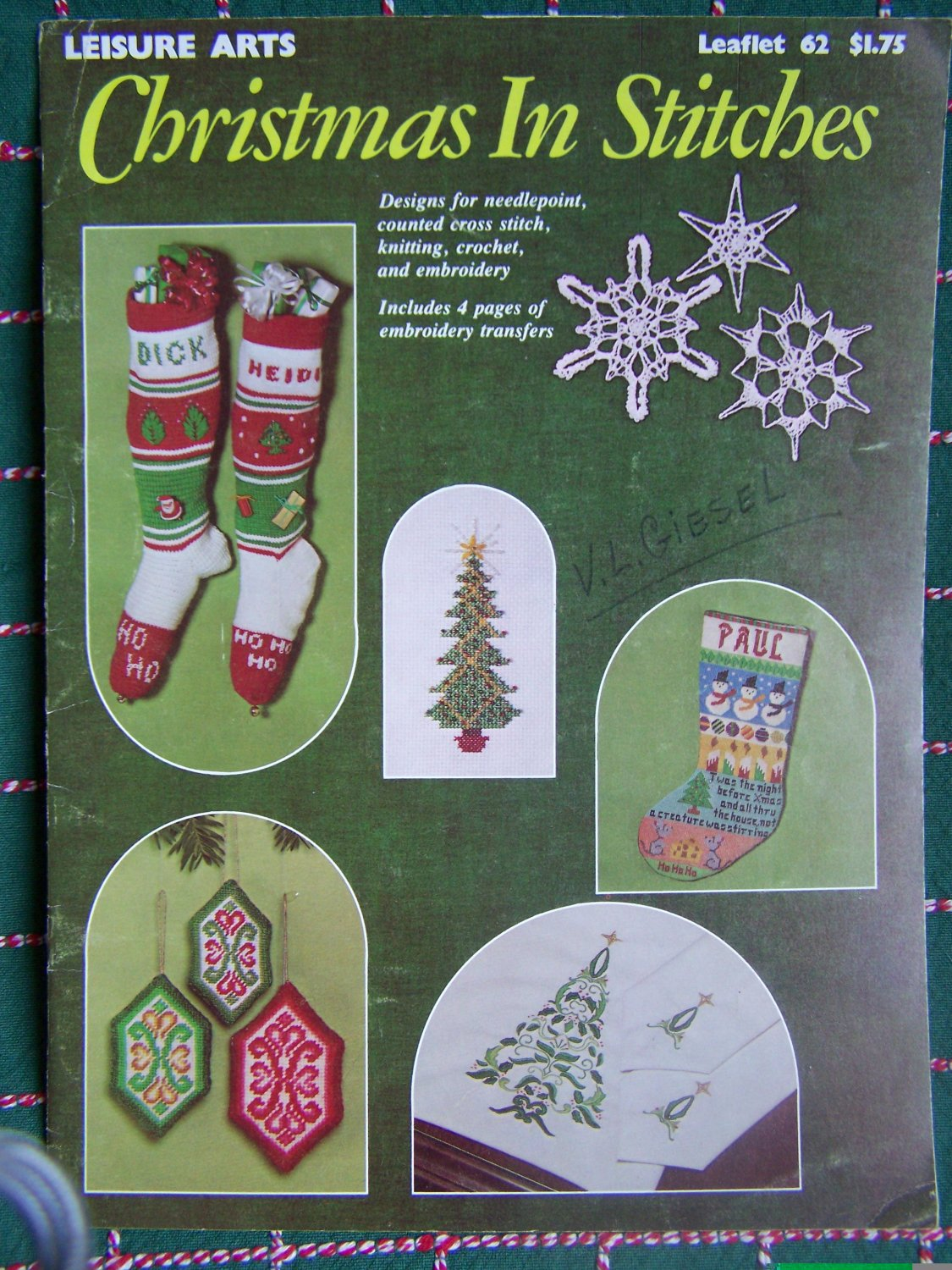 USA Free S&H 1970's Vintage Christmas Patterns Knitting Crochet Cross Stitch Needlepoint Embroidery