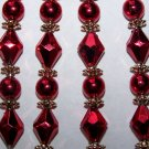 10 Beaded Christmas Tree Icicle Ornaments Red & Gold Victorian Lot Free USA S&H