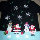 XL Womens Ugly Christmas Holiday Party Pullover Sweater Appliqued Santa Snowmen Snowflakes