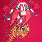 Vintage L Ugly Christmas Holiday Party T Shirt Yosemite Sam Flaming Santa