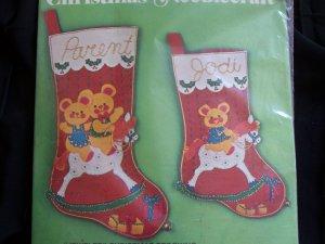 Vintage 2 Bucilla Jeweled Felt Christmas Stocking Craft Kits Three Bears on Rocking Horse