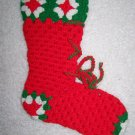 Vintage Crochet Christmas Stocking Sock Lace Up Boot Granny Square Red Green White