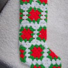 "Vintage Large Handmade Crochet Granny Squares Christmas Stocking 22"" Red Green White"