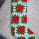 "Vintage Large Handmade Crochet Granny Squares Christmas Stocking 22"" Red Green White"