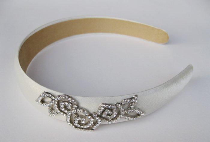 White Crystal Flowers Headband Hairband