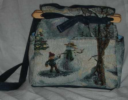 handbag, snowman tapestry, quilt, denim, reversible, organizer, purse