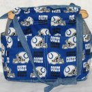 handbag, Indianapolis Colts fabric ,quilt, reversible, organizing purse