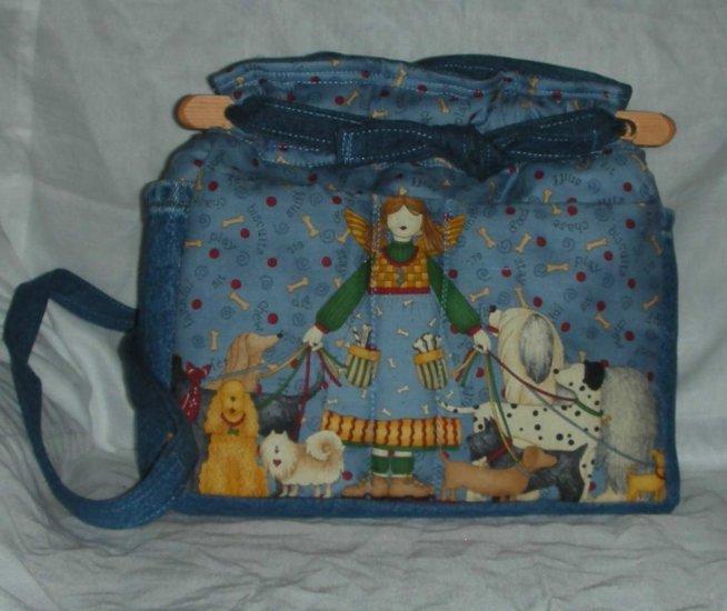 handbag, angel dog walker fabric, quilt, denim, reversible, organizer, purse