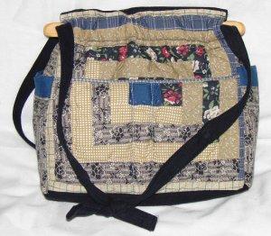 handbag,log cabin quilt, denim, reversible, organizing, purse
