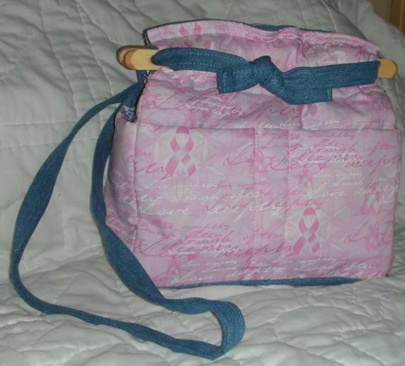 handbag, pink ribbon for a breast cancer cure fabric, quilt,denim, reversible, organizer, purse