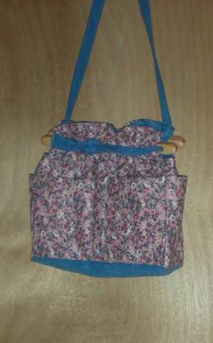Purse Victorian romantic birds and floral quilt denim organizer handbag