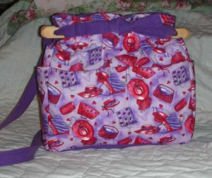 purse Red Hat Society quilt denim organizer handbag
