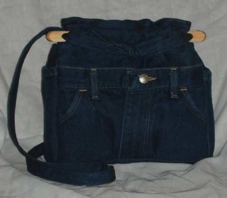 purse dark blue denim quilt organizer reversible handbag