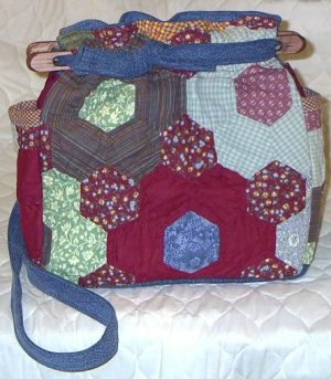 purse grandmas flower garden quilt denim organizer reversible handbag