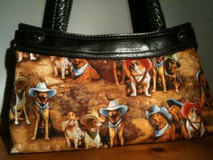 Texas cowboy hat dogs custom handmade skirt to fit a thirty one skirt purse