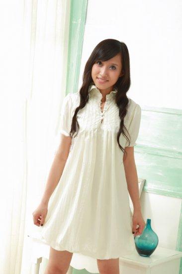 Ivory Detail Collar Causal Dress
