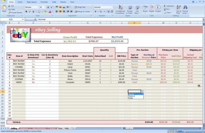 ebay auction excel spreadsheet