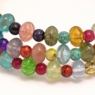 Multi Color Glass Bead Wrap Bracelet 3 Loops