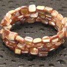 Pale Pink Shell Memory Wire Wrap Bracelet