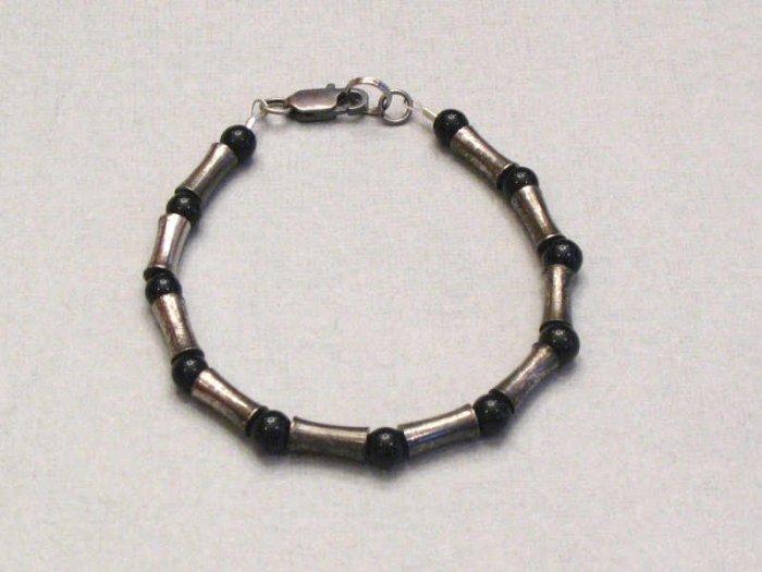 Mens Black Stone and Oxidized Silver Metal Bead Bracelet