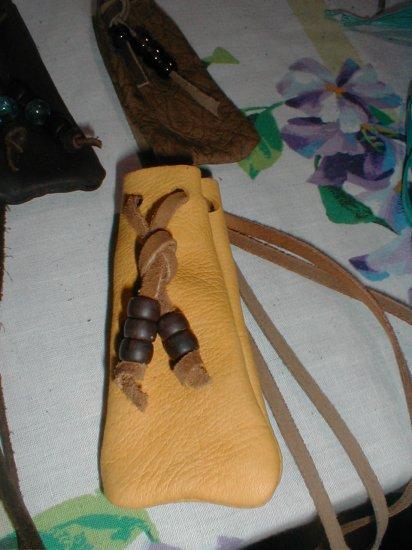 Soft Hide Medicine/Tobacco Bag Crow Beads FREESHIP Small
