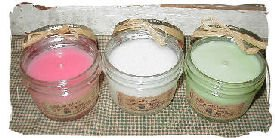 Hand Poured Candles - Set of THREE 8 oz Country Jelly Jar Candles