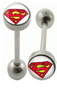 Surgical Steel  Barbell With Superman Logo Ball