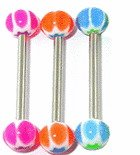 Surgical Steel Tounge Barbell With UV Candy Ball