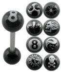 Surgical Steel Tounge Barbell With Black Painting UV Ball