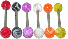 Surgical Steel Tounge Barbell with Fancy UV Ball