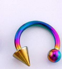 Surgical Steel Anodise Curved Barbell with Ball & Cone